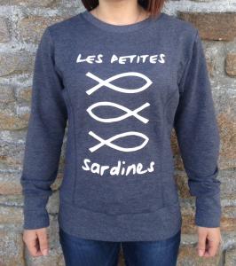 Sweat Les Petites Sardines gris chiné