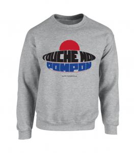 Sweat col rond gris chiné avec imprimé Touche Mon Pompon