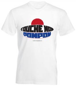 T-shirt blanc avec imprimé Touche Mon Pompon